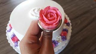 Whipped cream flower cake - Cake decorating tutorial