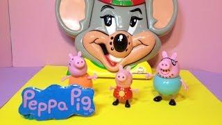 PEPPA PIG & Chucke Cheese Birthday Party a Nickelodeon & BBC Peppa Pig Toys Video Parody