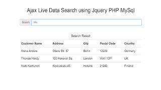 Ajax Live Data Search using Jquery PHP MySql