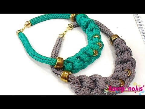 Knitted Cord How to make a simple necklace with knots