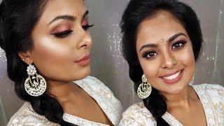 Indian Wedding Guest Makeup Tutorial - Metallic Rose Gold Eyes & Brown Lips | GRWM