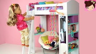 Doll Bunk Bed Bedroom Morning Routine Back To School -  AG  Doll Furniture & Realistic Miniatures