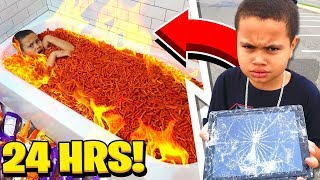 MY LITTLE BROTHER SAID YES TO EVERYTHING I SAID FOR 24 HOURS... [MUST WATCH] HOT CHEETOS BATHTUB!!!