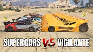 GTA 5 ONLINE - VIGILANTE VS SUPERCARS PART#01 (WHICH IS FASTEST BATMOBILE VS SUPERCARS?)
