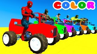 LEARN COLOR with ATV on BUS & Spiderman Cartoon for Kids w Cars Superheroes for babies!