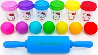 Learn Colors Hello Kitty Dough with Ice Cream Popsicles Molds and Surprise Toys Shopkins