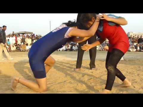 Indian Girl Wrestler competing at Fatehpur Chandela Dangal