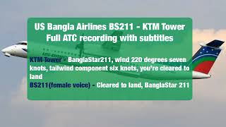 US Bangla Airlines BS211 - KTM Tower Full ATC recording with Subtitles