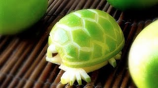 How To Make an Edible Apple Turtles - Fruit Carving Garnish - Party Garnishing - Food Decoration