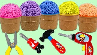 Play Foam Surprise Cups Opening with Mickey Mouse Pretend Tools!