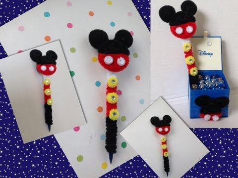 PLUMA DE MICKEY MOUSE ADORNADA CON LIMPIA PIPAS . PIPE CLEANERS ICKEY MOUSE PEN