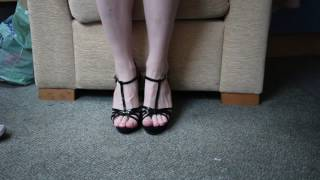 black strappy heels, pale pink toes (cd feet)
