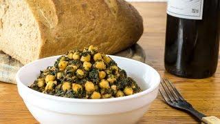 Spanish Recipe - Chickpeas with Spinach - Vegan Vegetarian