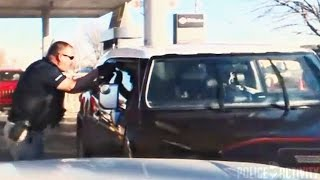 Dashcam Shows Carjacking Suspect Ramming Into Police Squad Car