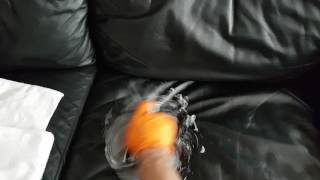 Black Leather Sofa Cleaning by Happy Clean