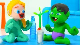 SUPERHERO BABIES & THE SEED GERMINATION PROCESS ❤ Frozen Elsa Play Doh Cartoons For Kids