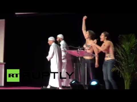 Xxx Mp4 Topless FEMEN Disrupt Muslim Conference In France Get Kicked 3gp Sex