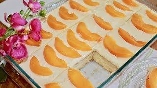 Peach and Cream Cake - Moist Sponge Cake Recipe - Cream  Cake Recipe