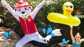 Paw Patrol Pup Marshall Goes Swimming !!! Summer Time FUN in the Pool