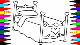 Girls Bed Coloring Pages l How To Draw and Paint Bed l Videos for Children l Brilliant Marker