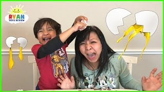 EGGED ON Egg Roulette Challenge Family Fun Game for Kids! Gross Messy Real Food Eggs Surprise Toys