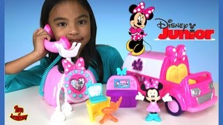 Minnie Mouse Happy Helpers Toys Unboxing Phone and Van | Toys Academy