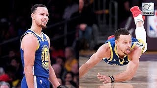 Stephen Curry Slips As Tries The Showboat Dunk During Golden State Win Over Lakers