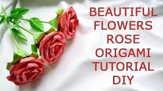 Beautiful Flowers Rose Bouquet Origami Paper Tutorial DIY Instruction