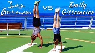 Cruise Ship Gymnastics - Emily Gittemeier v Justin Gittemeier Handstand Competion