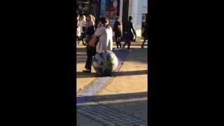 Crazy Drunk Lady Dances to street performer
