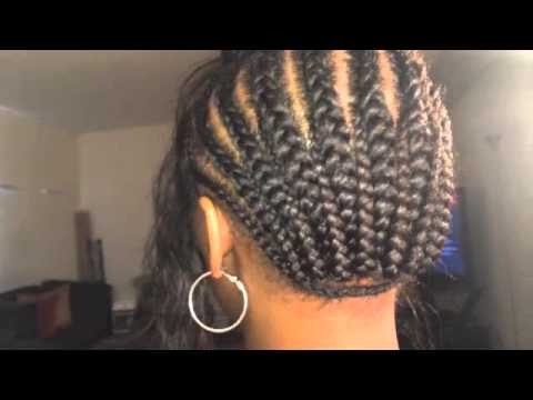 Side Part Sew in weave Curved Deep Cpart sew in Braid pattern ...