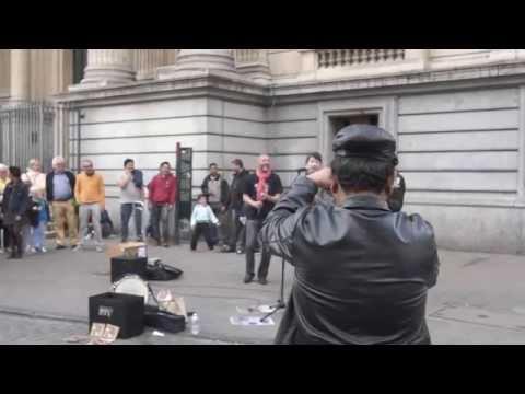 Reggae busker street performance