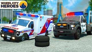 Police Car Assists Wheelless Ambulance   Vehicle Trucks Cartoon for Kids   Wheel City Heroes