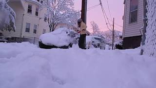 SHOVELING SNOW AFTER A STORM! [Time lapse] Boston