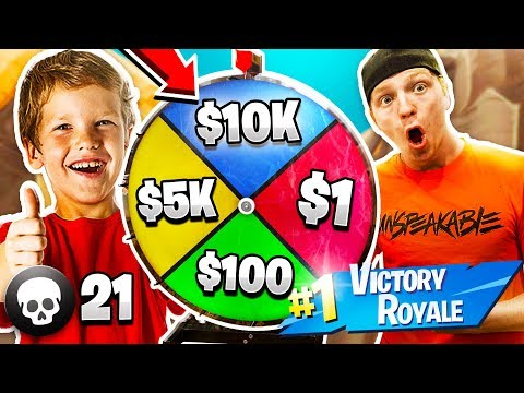 11 YEAR OLD KID WINS 10 000 IN FORTNITE 1 KILL 1 SPIN