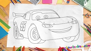 How to draw Lightning Mcqueen - Easy step-by-step drawing lessons for kids