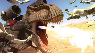 SUPER T-REX vs SEAGULLS WITH MINIGUNS - Beast Battle Simulator Gameplay | Pungence