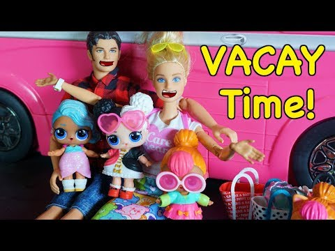 LOL SURPRISE DOLLS Cutie Runs Away While BARBIE And Ken Pack Up For A Vacation!