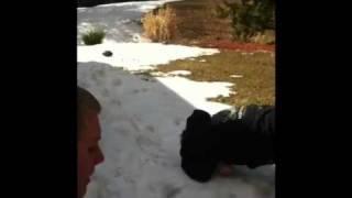 Bmx snow bank junp
