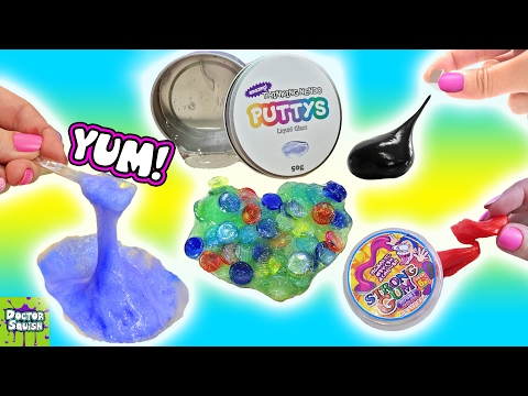 SQUISHY PUTTY Collection! EATING Slime! Magnetic Thinking Putty Liquid Glass Doctor Squish