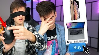 Buying EVERYTHING my Little Brother CLICKS *Blindfolded* But It Got EXPENSIVE..