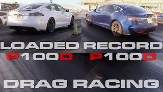 Tesla Model S P100D new record and fully loaded 1/4 Mile Testing vs Camaro ZL1 and BMW 550i