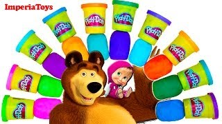 Masha i Medved PlayDoh Surprise eggs Unboxing Маша и Медведь Play Doh Яйца Сюрприз