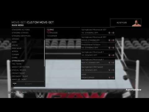 WWE 2K17 AJ Styles Updated Moveset