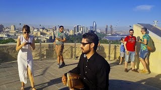 Rabab on top of famous Maiden Tower in Baku