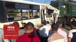Bakının #Binə qəsəbəsində sərnişin avtobusu ilə #qatar toqquşub