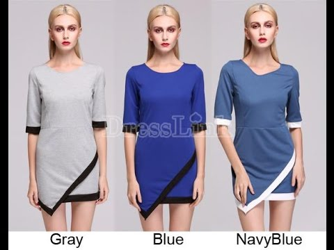 Dresslink video review for women's casual irregular hem o-neck dress