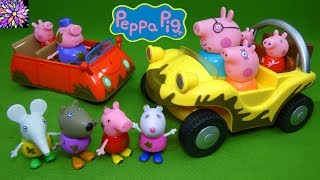 Lots of Peppa Pig Toys Muddy Puddles Red Car Adventure Buggy Family Friends Figure Set Mud Toys