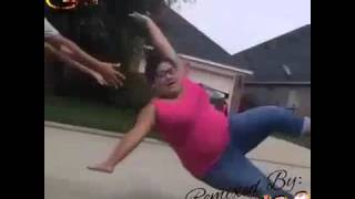 Funny Fat Aunty hoverboard fail