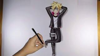 Cara menggambar Boruto 3D ( anak naruto ) menggunakan pensil warna